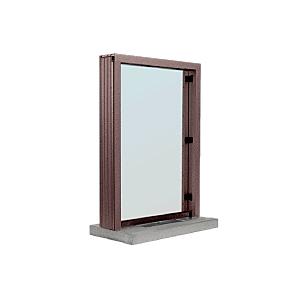 "Dark Bronze Aluminum Standard Inset Frame Interior Glazed Exchange Window with 12"" Shelf and Deal Tray"