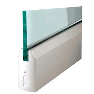 "CRL DR4TSA38C Satin Anodized 3/8"" Glass 4"" Tapered Door Rail Without Lock - Custom Length"