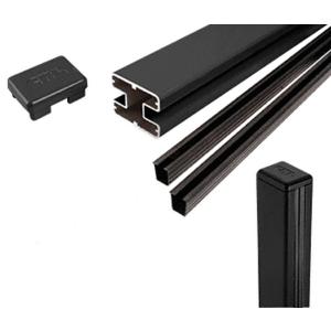 """CRL S48CKBL Matte Black AWS 2"""" x 2-5/8"""" Rectangular 180 Degree 48"""" Center Post Kit"""