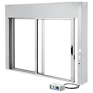 CRL EDW1801A Satin Anodized Custom Size All Electric Fully Automatic Deluxe Sliding Service Window XO or OX With Aluminum Half Bottom Track