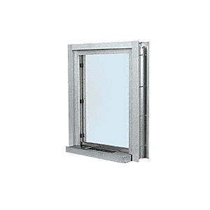 "CRL C01W12A Satin Anodized Aluminum Clamp-On Frame Interior Glazed Exchange Window With 12"" Shelf and Deal Tray"