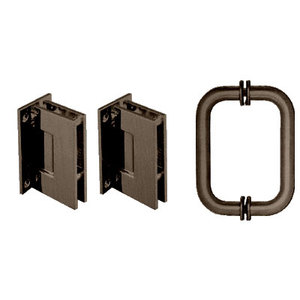 CRL GENS30RB Oil Rubbed Bronze Geneva Shower Pull and Hinge Set