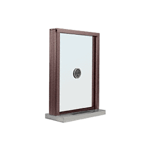 "CRL S1EW12DU Dark Bronze Aluminum Standard Inset Frame Exterior Glazed Exchange Window with 12"" Shelf and Deal Tray"