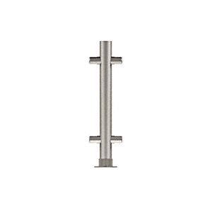 "CRL PP55CBS Brushed Stainless 12"" High 1"" Round PP55 Slimline Series Straight Front Counter/Partition Center Post"