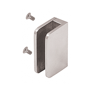 "CRL SA87FBS Brushed Stainless 3/8"" Top Flat Base Glass Clip"