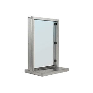 "CRL S11W18A Satin Anodized Aluminum Standard Inset Frame Interior Glazed Exchange Window with 18"" Shelf and Deal Tray"