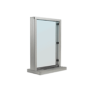 "Satin Anodized Aluminum Standard Inset Frame Interior Glazed Exchange Window with 12"" Shelf and Deal Tray"