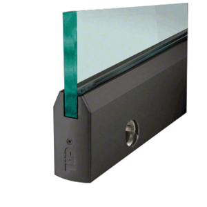 """CRL DR4TBL12SL Black Powder Coated 1/2"""" Glass 4"""" Tapered Door Rail With Lock - 35-3/4"""" Length"""