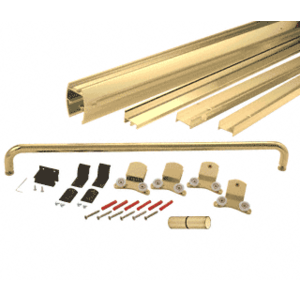 "CRL DK386060BGA Brite Gold Anodized 60"" x 60"" Cottage DK Series Sliding Shower Door Kit with Metal Jambs for 3/8"" Glass"
