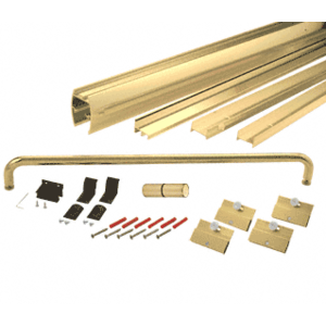 "CRL DK146072BGA Brite Gold Anodized 60"" x 72"" Cottage DK Series Sliding Shower Door Kit with Metal Jambs for 1/4"" Glass"