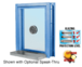 """CRL C0EW18P Custom Powder Painted (Specify) Aluminum Clamp-On Frame Exterior Glazed Exchange Window with 18"""" Shelf and Deal Tray"""