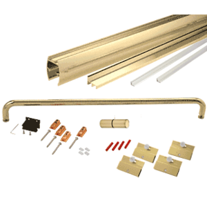 """CRL CK146072BGA Brite Gold Anodized 60"""" x 72"""" Cottage CK Series Sliding Shower Door Kit With Clear Jambs for 1/4"""" Glass"""