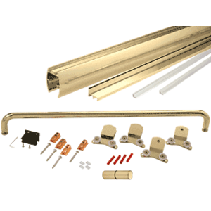 "Brite Gold Anodized 60"" x 72"" Cottage CK Series Sliding Shower Door Kit With Clear Jambs for 3/8"" Glass"