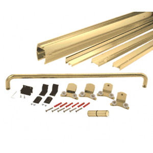 "CRL DK387280BGA Brite Gold Anodized 72"" x 80"" Cottage DK Series Sliding Shower Door Kit With Metal Jambs for 3/8"" Glass"