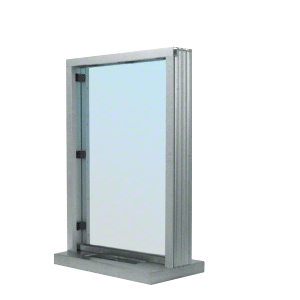 """Satin Anodized Bullet Resistant 24"""" Wide Interior Window with Surround Sound and Shelf with Deal Tray for 4-7/8"""" Thick Walls"""