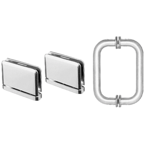 Polished Chrome Prima Shower Pull and Hinge Set