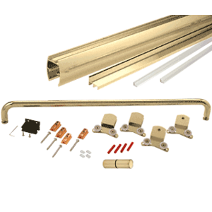 "Brite Gold Anodized 60"" x 80"" Cottage CK Series Sliding Shower Door Kit with Clear Jambs for 3/8"" Glass"