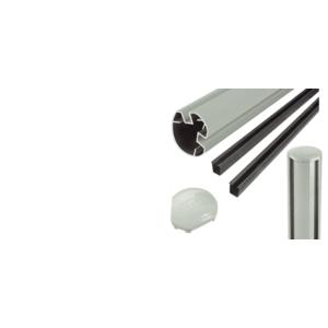 """CRL R485KAGY Agate Gray AWS 3"""" Diameter Round 135 Degree 48"""" Post Kit"""