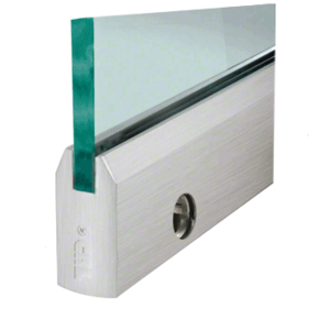 """CRL DR4TBS12CL Brushed Stainless 1/2"""" Glass 4"""" Tapered Door Rail With Lock - Custom Length"""