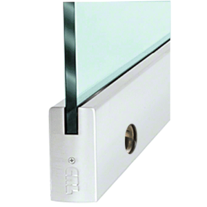 """CRL DR4SSA34SL Satin Anodized 3/4"""" Glass 4"""" Square Door Rail With Lock - 35-3/4"""" Length"""