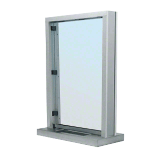 "CRL S11W18S Brushed Stainless Steel Frame Interior Glazed Exchange Window with 18"" Shelf and Deal Tray"