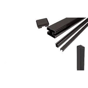 """CRL S72EKBL Matte Black AWS 2"""" x 2-5/8"""" Rectangular 180 Degree 72"""" End Post Kit"""