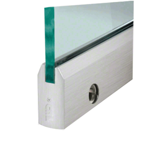 """CRL DR4TBS12SL Brushed Stainless 1/2"""" Glass 4"""" Tapered Door Rail With Lock - 35-3/4"""" Length"""