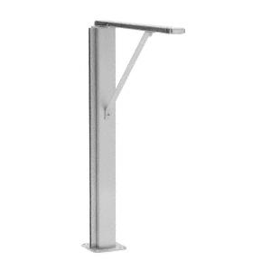 "CRL SG40124LEBS Brushed Stainless Left Hand Closed End 24"" Plaza Series Sneeze Guard Post with Top Shelf"