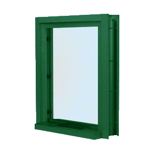 "CRL C01W12K KYNAR Painted (Specify) Aluminum Clamp-On Frame Interior Glazed Exchange Window with 12"" Shelf and Deal Tray"