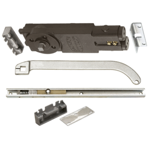 "Satin Aluminum Regular Duty Spring 105 No Hold Open Overhead Concealed Closer With ""S"" Offset Slide-Arm Hardware Package"