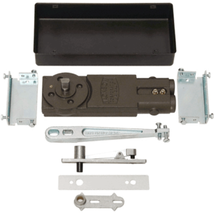 """Satin Aluminum Regular Duty 105 No Hold Open Floor Closer with """"S"""" Package for Aluminum Doors and Frames"""