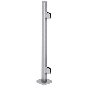 "CRL SPS36EBS Brushed Stainless 36"" Steel Square Glass Clamp End Square Post Railing Kit"