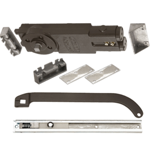 "Regular Duty Spring 105 No Hold Open Overhead Concealed Closer With ""P"" Offset Slide-Arm Hardware Package Dark Bronze"