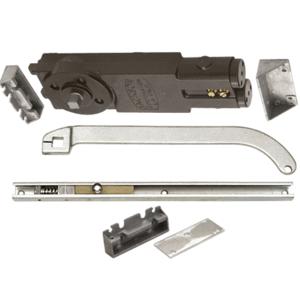 Satin Aluminum Regular Duty Spring 90 Hold Open Overhead Concealed Closer with 'U' Offset Slide-Arm Hardware Package