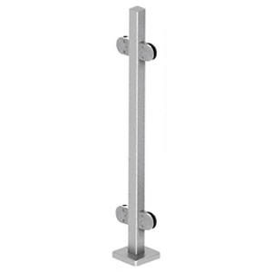 "CRL SPR36CBS Brushed Stainless 36"" Steel Square Glass Clamp 180 Degree Center Square Post Railing Kit"