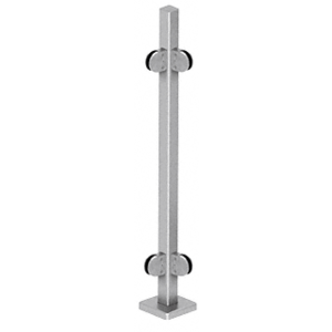 "CRL SPR36LBS Brushed Stainless 36"" Steel Square Glass Clamp 90 Degree Corner Square Post Railing Kit"