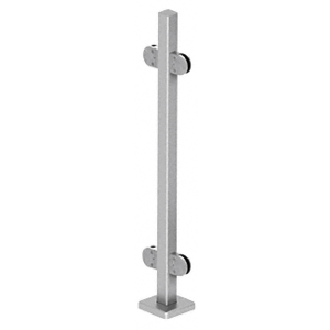 "CRL SPR42CBS Brushed Stainless 42"" Steel Round Glass Clamp 180 Degree Center Square Post Railing Kit"