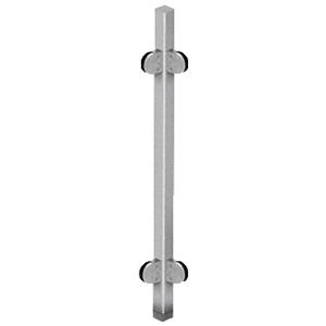 "CRL SPR42LBS Brushed Stainless 42"" Steel Round Glass Clamp 90 Corner Post Railing Kit"