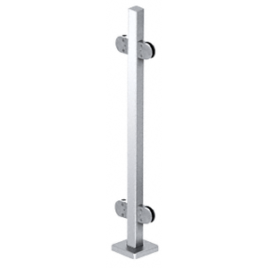 "CRL SPR42CPS Polished Stainless 42"" Steel Round Glass Clamp 180 Degree Center Square Post Railing Kit"