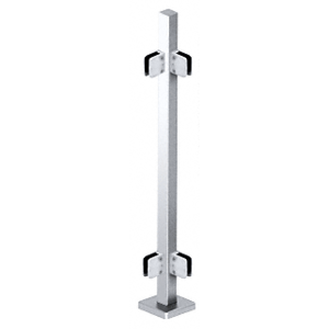 "CRL SPS36LPS Polished Stainless 36"" Steel Square Glass Clamp 90 Degree Corner Square Post Railing Kit"