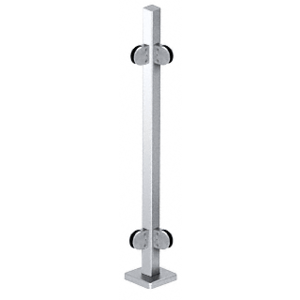 """Polished Stainless 42"""" Steel Round Glass Clamp 90 Corner Post Railing Kit"""