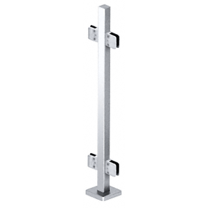 "CRL SPS42CPS Polished Stainless 42"" Steel Square Glass Clamp 180 Degree Center Square Post Railing Kit"