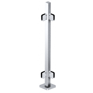 """Polished Stainless 42"""" Steel Square Glass Clamp 90 Degree Corner Post Railing Kit"""