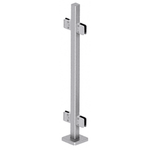 "CRL SPS42CBS Brushed Stainless 42"" Steel Square Glass Clamp 180 Degree Center Square Post Railing Kit"