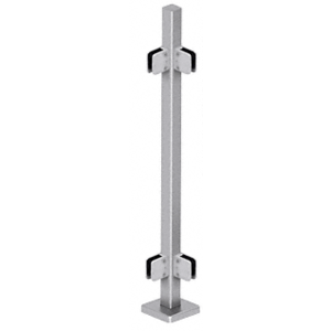 "CRL SPS42LBS Brushed Stainless 42"" Steel Square Glass Clamp 90 Degree Corner Post Railing Kit"