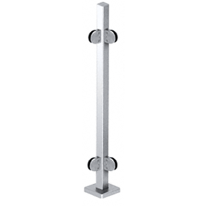 "CRL SPR36LPS Polished Stainless 36"" Steel Square Glass Clamp 90 Degree Corner Square Post Railing Kit"
