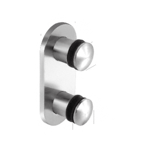 """Polished Stainless Steel Dome 2-3/8"""" Glass Rail Standoff Fitting With Mounting Plate"""