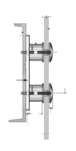 """CRL RS0B25PS Polished Stainless Steel Dome 2-3/8"""" Glass Rail Standoff Fitting With Mounting Plate"""