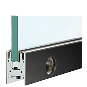 """CRL DR2SBL38CL Black Powder Coated 3/8"""" Glass Low Profile Square Door Rail With Lock - Custom Length"""