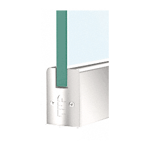 """CRL DR2SPS38P Polished Stainless 3/8"""" Glass Low Profile Square Door Rail Without Lock - 8"""" Patch"""